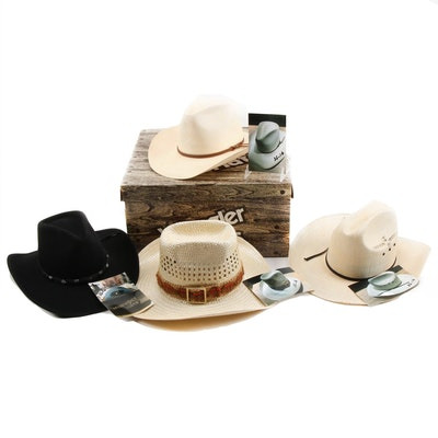 Western Style Woven and Wool Felt Hats Including Stetson