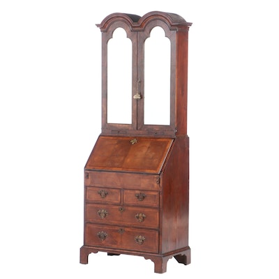 George II Style Cross-and-Feather-Banded Walnut Double-Dome Bureau Cabinet