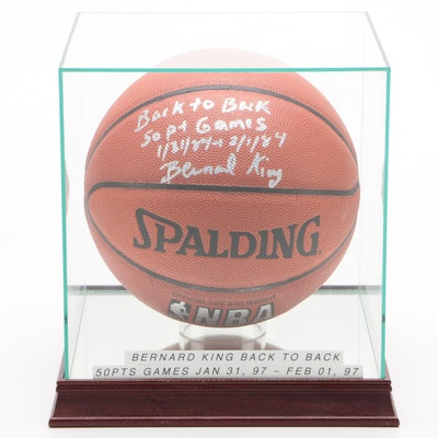 "Bernard King ""Back to Back 50 Pt. Games"" Signed Spalding NBA Basketball"