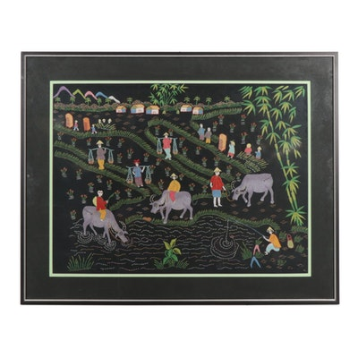 Hmong Folk Art Embroidery of a Village Scene