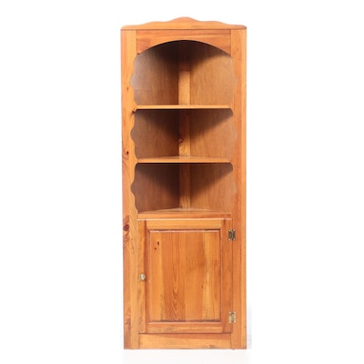Colonial Style Pine Corner Display Cabinet, Late 20th Century