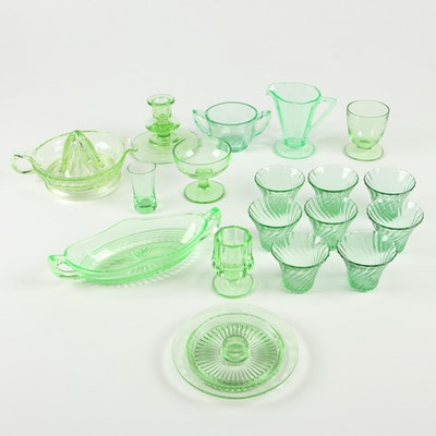 Vaseline Tableware and Drinkware with Candle Holders, 1930-40