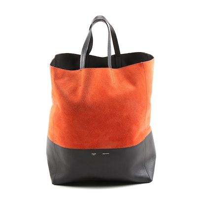 Céline Vertical Bi-Cabas Leather Tote in Orange Suede and Black Leather