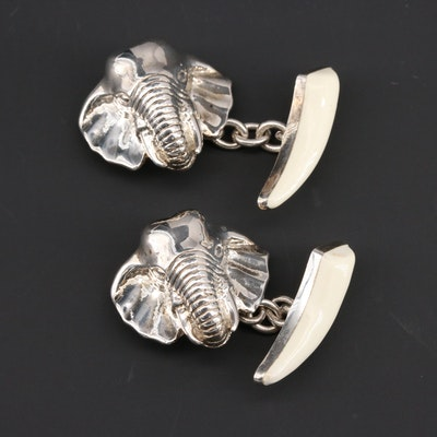 KJD Jewelers of London Sterling Silver Enamel Elephant Motif Cufflinks