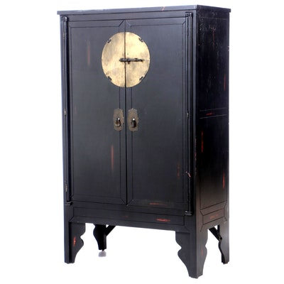 Chinese Rubbed Lacquered Cabinet, Contemporary