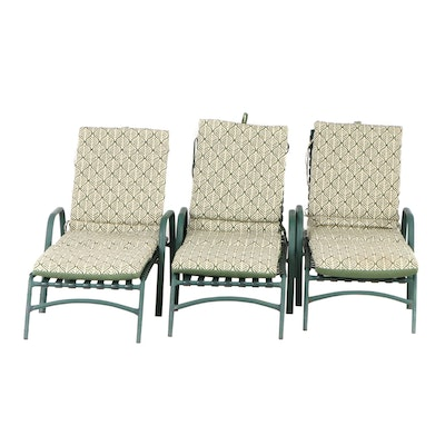 Metal Patio Chase Lounge Chairs with Cushions, Contemporary