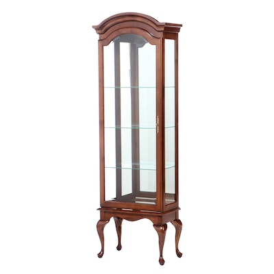 Queen Anne Style Maple Display Cabinet, Late 20th Century
