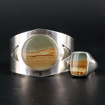 Southwestern Sterling Silver Signed Picture Jasper Bracelet and Ring