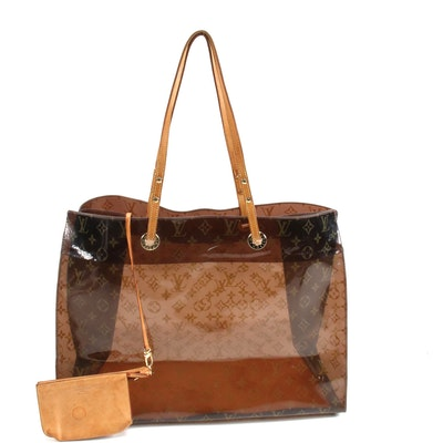 Louis Vuitton Cruise Tote Bag in Monogram Ambre Vinyl with Leather Pochette