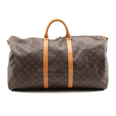 Louis Vuitton Keepall Bandoulière 55 Travel Bag in Monogram Canvas and Leather