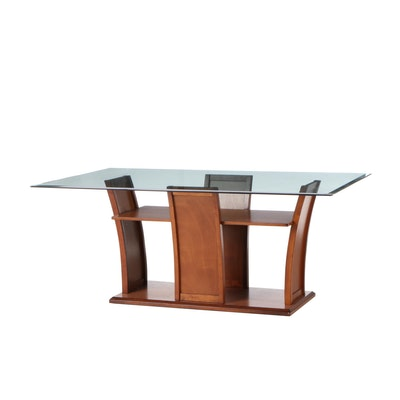 Contemporary Modern Walnut Glass Top Dining Table, Contemporary