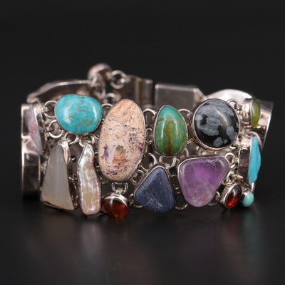 950 Silver Bracelet Featuring Turquoise, Opal, and Ammolite