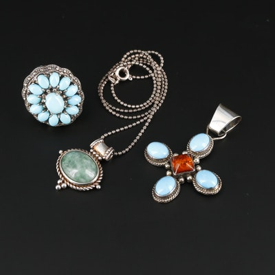 Southwestern Style Sterling Silver Ring and Pendants Featuring Turquoise
