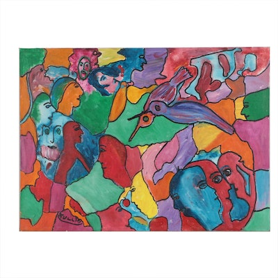 Charles Tullio Abstract Acrylic Painting of Figures and Birds