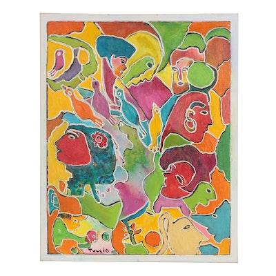 "Charles Tullio Abstract Acrylic Painting ""Four Birds"""