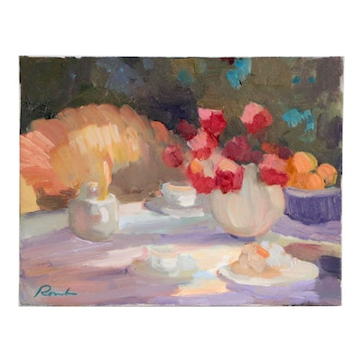 Sally Rosenbaum Still Life Oil Painting of Tablescape