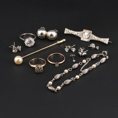 Assorted Jewelry Including Sterling, Jewel Art and Vintage Scottish Brooch