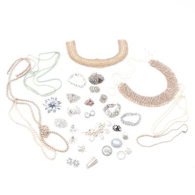 1950s Rhinestone and Imitation Pearl Jewelry Including Trifari and Kramer