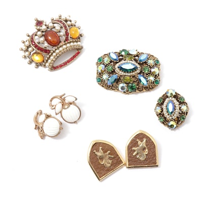 "Vintage Weiss ""Crown"" and Rhinestone Brooches with Trifari and Kramer"
