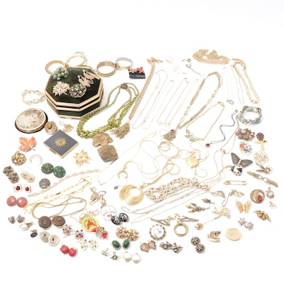 Vintage Jewelry with Compact and Vanity Box