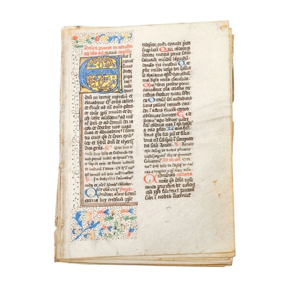 Mid 13th - Mid 14th Century Illuminated Leaves in Latin