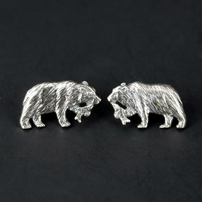 Kabana Sterling Silver Bear with Salmon Earrings