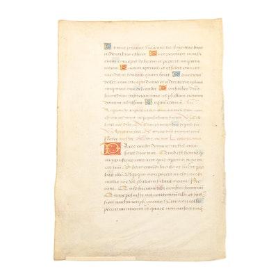 Late 15th Century Illuminated Manuscript Leaf
