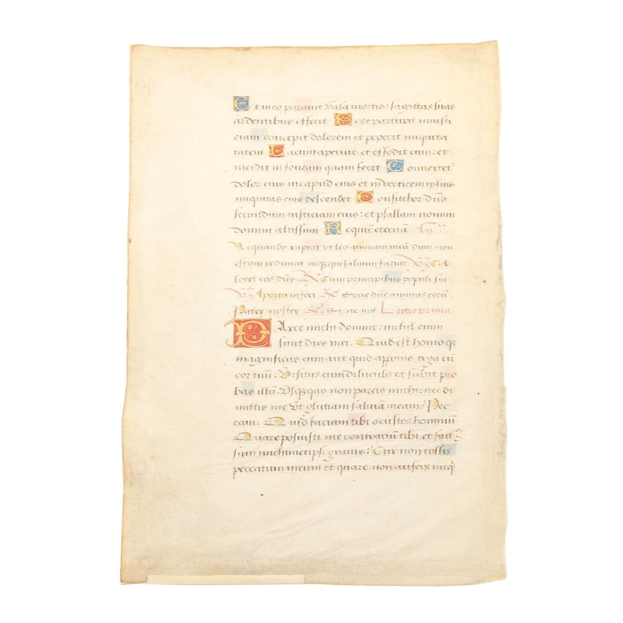 Late 15th Century Illuminated Manuscript Leaf