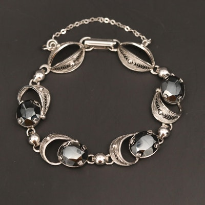 Sorento Sterling Silver Hematite Filigree Bracelet