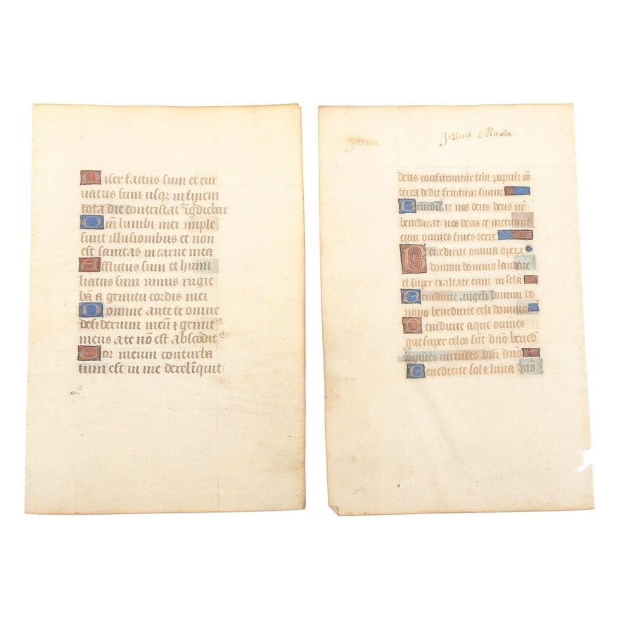 Mid 14th - Mid 15th Century Illuminated Manuscript Leaves in Latin