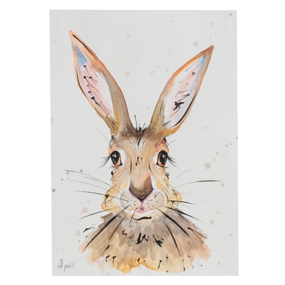 Anne Gorywine Watercolor Portrait of Rabbit