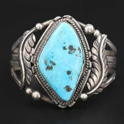 Southwestern Style Sterling Silver Appliqué and Turquoise Cuff Bracelet