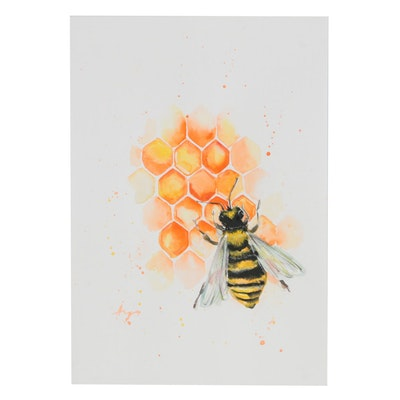 Anne Gorywine Watercolor Painting of Bee and Honeycomb