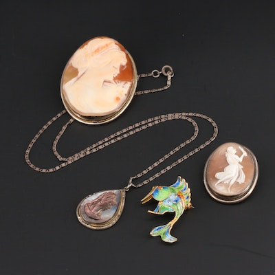 800 Silver Jewelry Featuring Shell Cameo Brooches and Enamel Fish