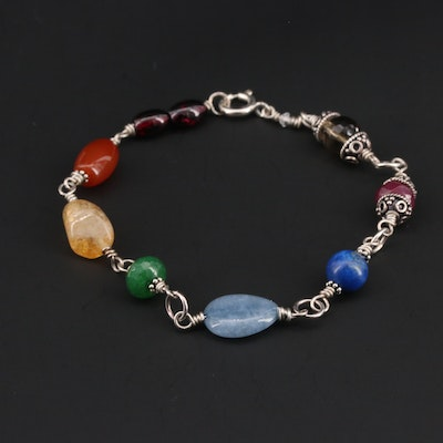 Sterling Silver Gemstone Bracelet Featuring Garnet, Citrine, and Carnelian