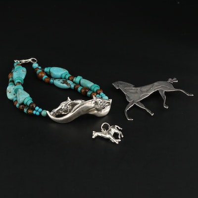 Equestrian Themed Sterling Silver Jewelry Including Gemstone Bracelet
