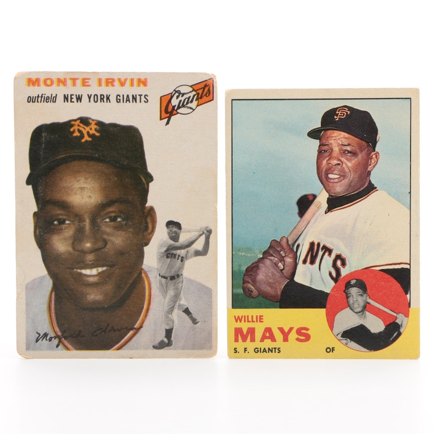 1954 Monte Irvin and 1963 Willie Mays Giants Topps Baseball Cards