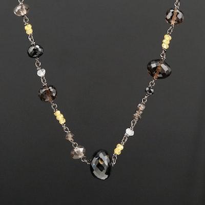 14K White Gold Black Spinel, Smoky Quartz and Labradorite Necklace