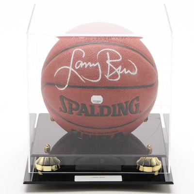 Larry Bird Signed Spalding NBA Basketball, Mounted Memories COA