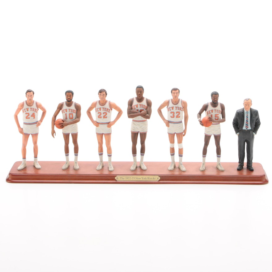 Danbury Mint Ceramic 1972-1973 NBA Champs New York Knicks Team Figurine, 2002