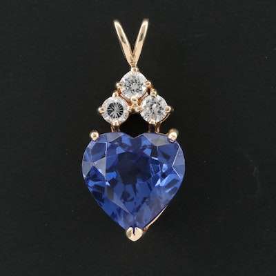 10K Yellow Gold Cubic Zirconia and Glass Heart Pendant