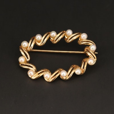 14K Yellow Gold Cultured Pearl Brooch