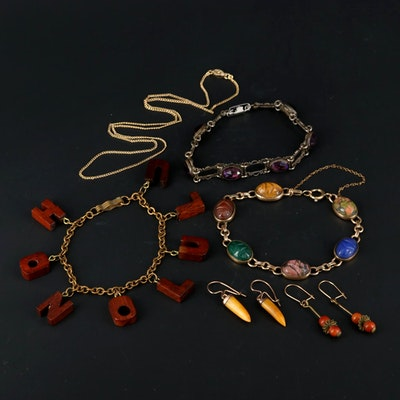 Tiger's Eye, Unakite and Rhodonite Jewelry Featuring Scarab Bracelet