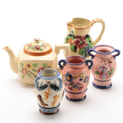 Majolica Style Pottery Made in Japan, 1960s