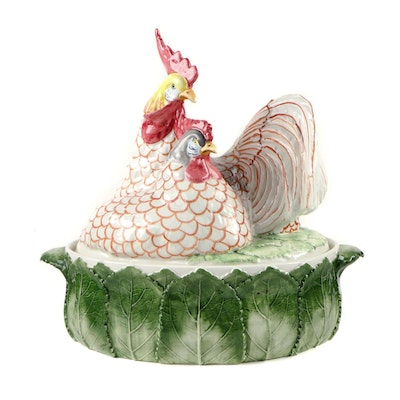 Vietri Rooster and Cabbage Ceramic Tureen, Contemporary