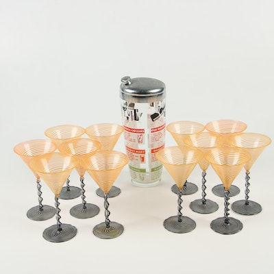Venetian Style Hand Blown Martini Glasses with Glass Cocktail Shaker