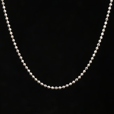 14K White Gold Bead Chain Necklace