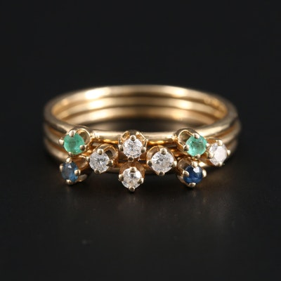 14K Yellow Gold Diamond, Emerald, and Sapphire Stacking Rings