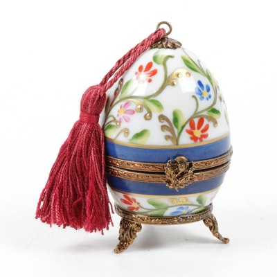 Hand-Painted Limoges Porcelain Egg with Perfume Bottle Vanity Box