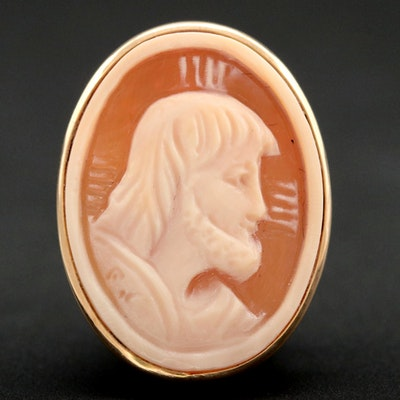 14K Yellow Gold Helmet Shell Carved Cameo Religious Portrait Converter Brooch